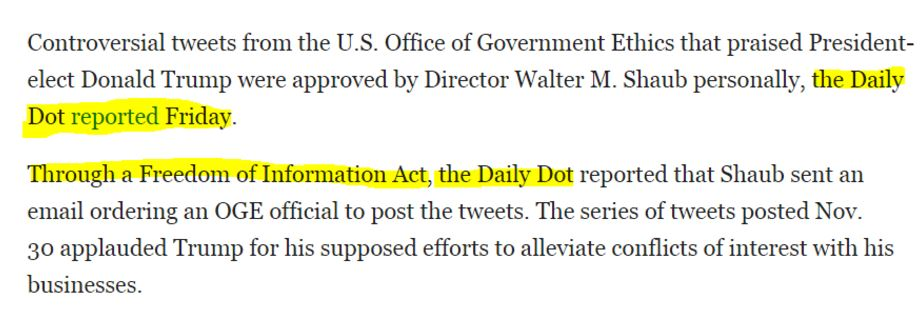 Text from Daily Dot, with sentences highlighted.