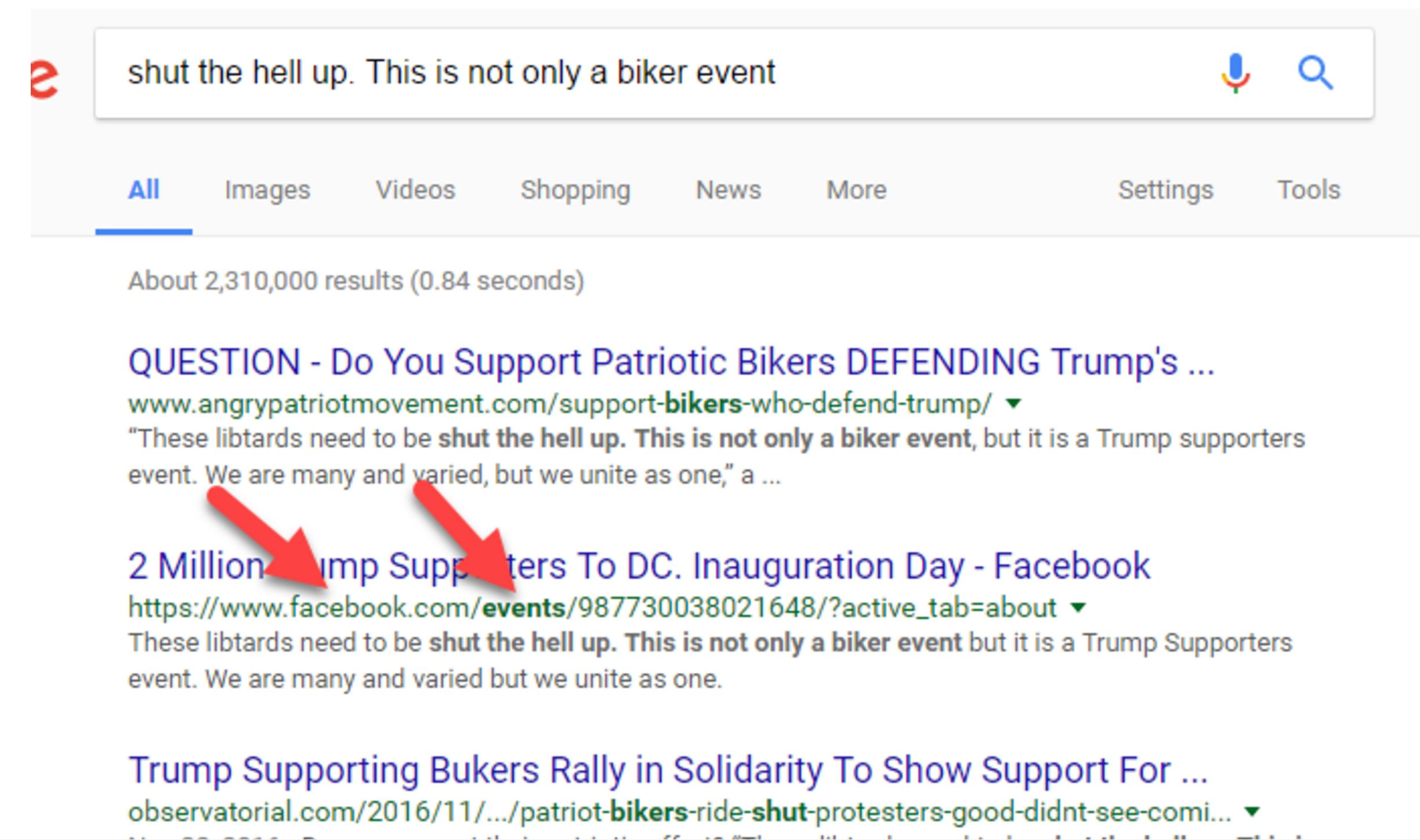 Screenshot with arrows that point to the second Google result.