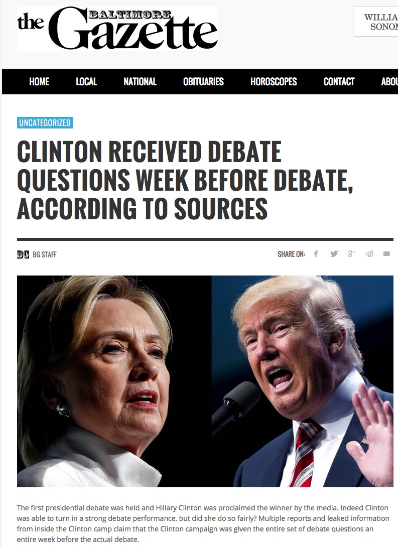 See description of Figure 60a: Headline Reads: Clinton Received Debate Questions