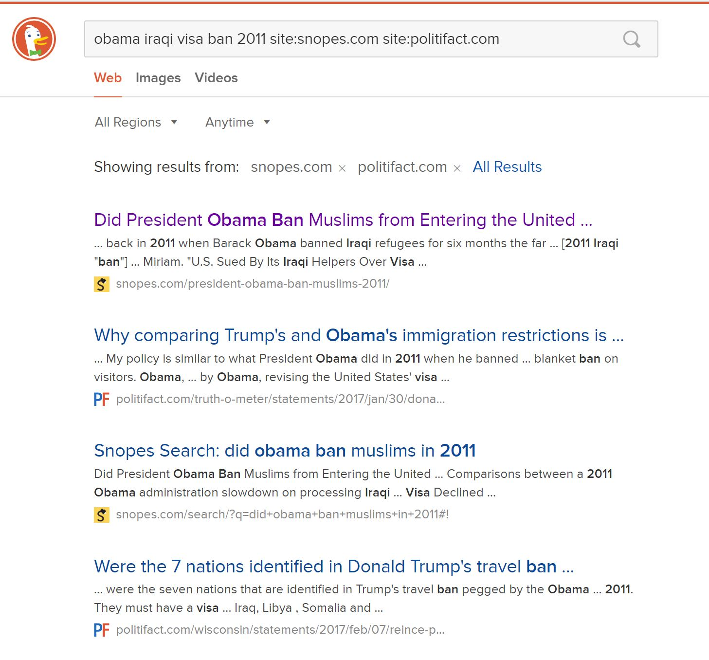 Screenshot of DuckDuckGo search results. The top results are from fact-checking sites Snopes and Politifact.