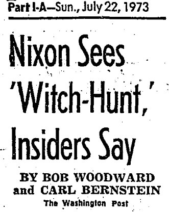 "Newspaper article saying ""Nixon Sees Witch-hunt"""